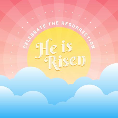 Ele é ressuscitado Ilustração de fundo da Páscoa