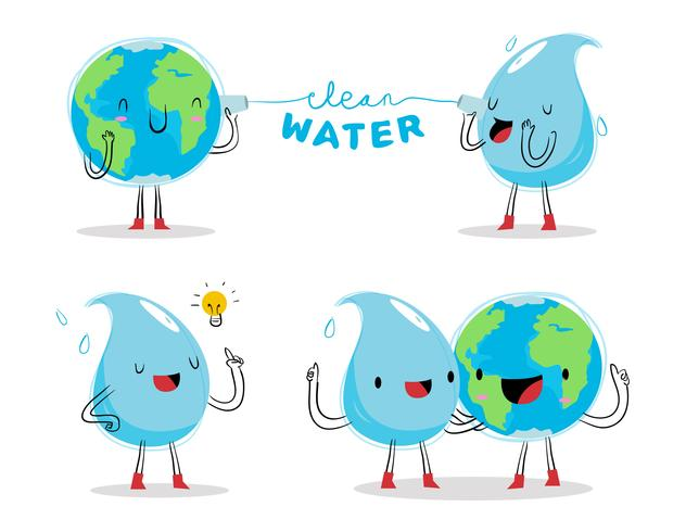 Clean Water Advocacy Character Mascot Vector Illustration