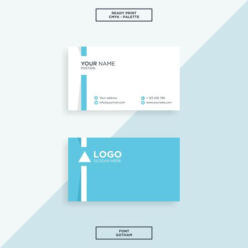 Business card simple line blue