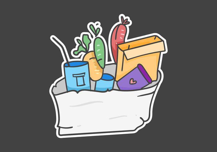 etiqueta de condução de comida ilustração desenhada