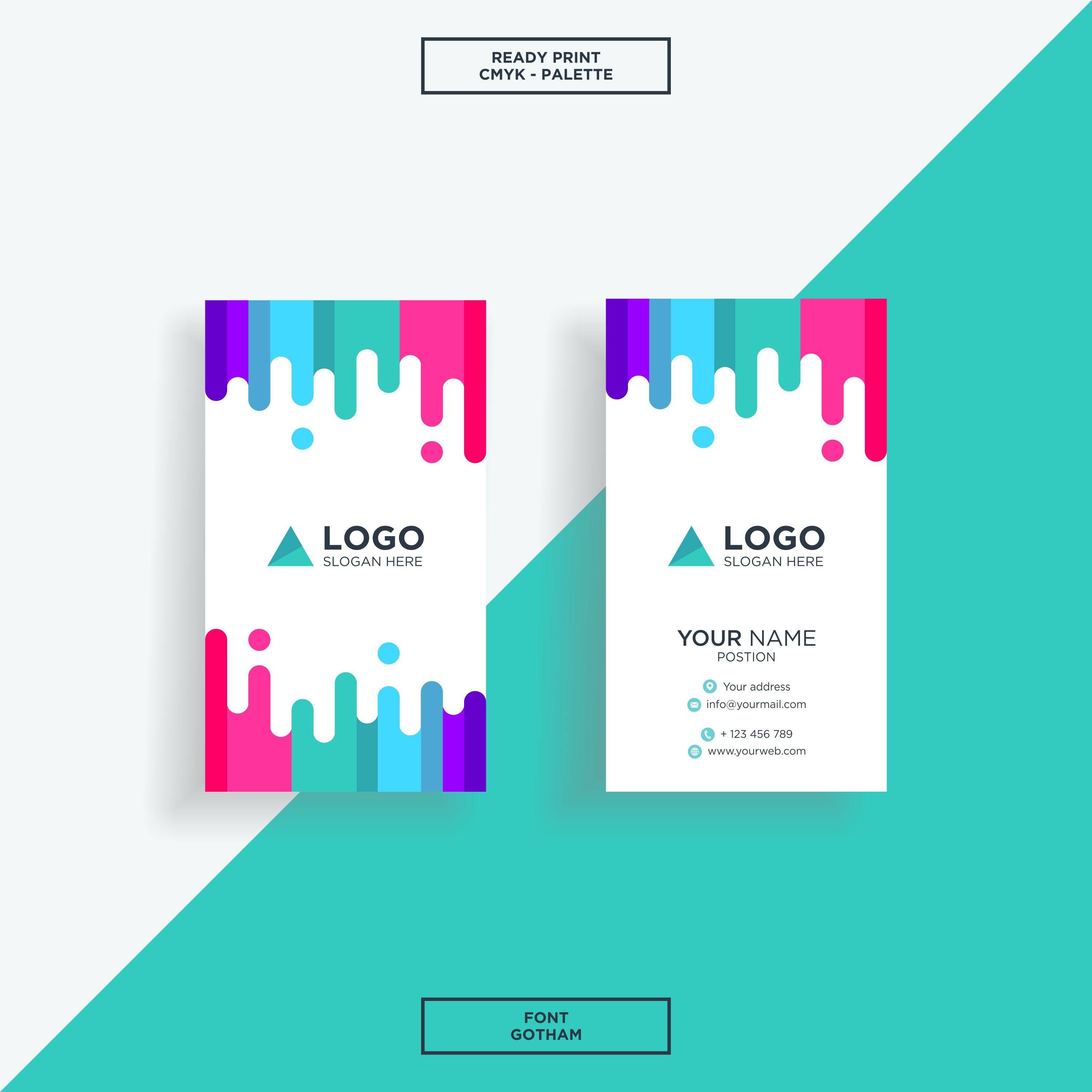 business card vertical colourfull 194413  download free