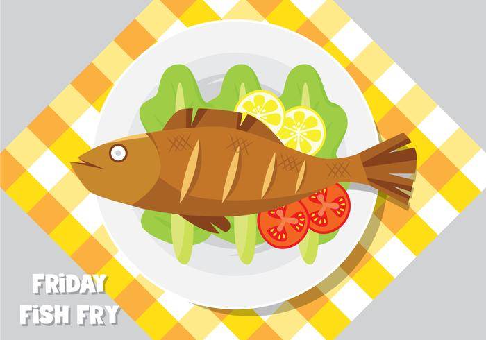 A Plate Of Frying Fish - Download Free Vector Art, Stock Graphics & Images