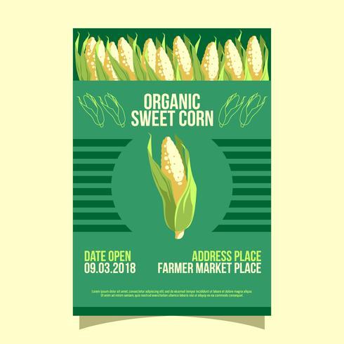 Vetor do Flyer do mercado dos fazendeiros de milho doce orgânico