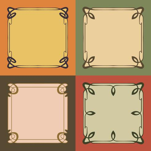Vintage Art Nouveau Frames Decorative Borders Style Elements