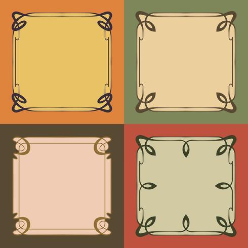 Vintage Art Nouveau Frames Estilo de bordas decorativas Elementos