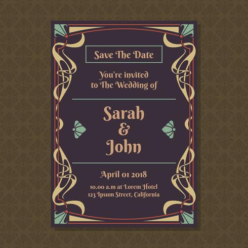 Invitation Cards With Art Nouveau Ornament Template