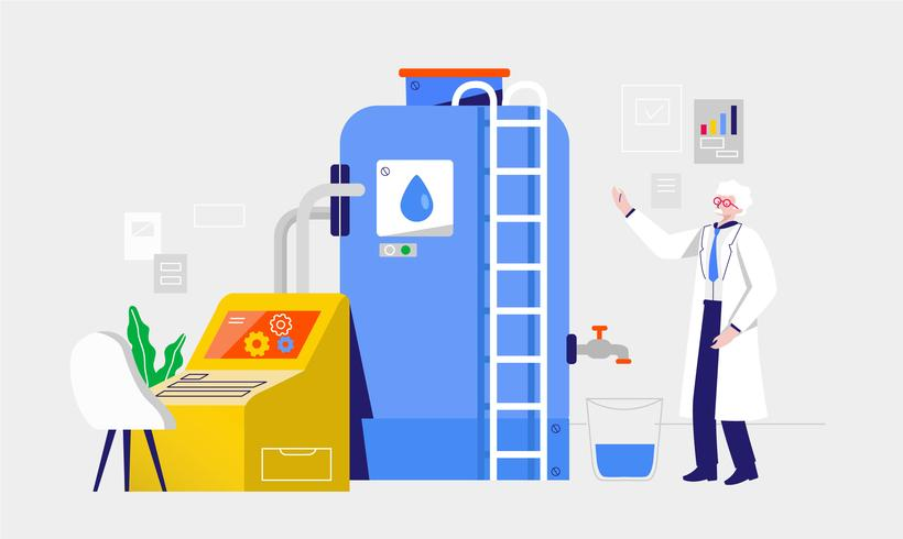 Clean Water Filter Process Vector Illustration