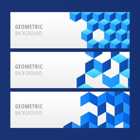 Blauer geometrischer Fahnen-Vektor