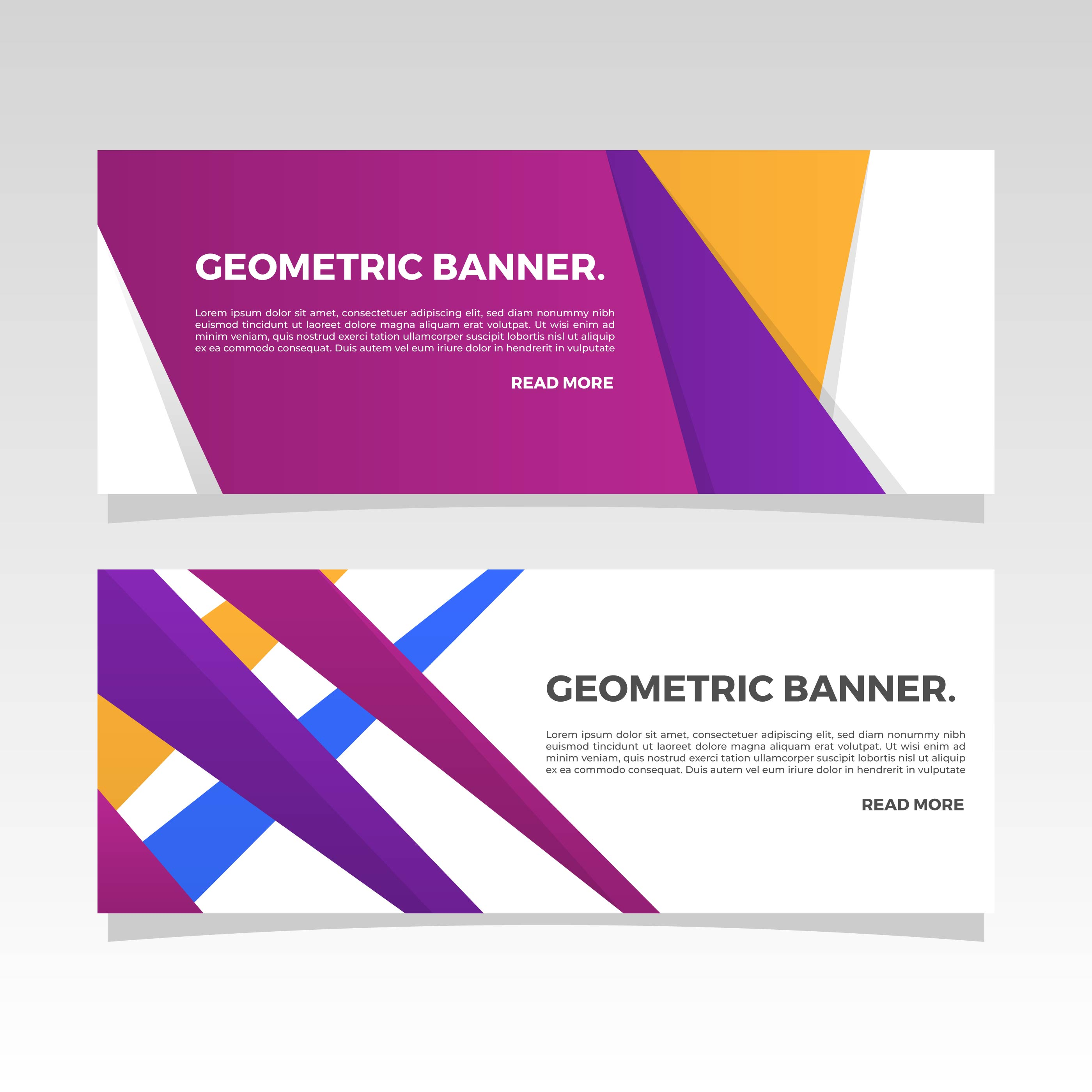 Flat Geometric Banner Vector Template - Download Free ...