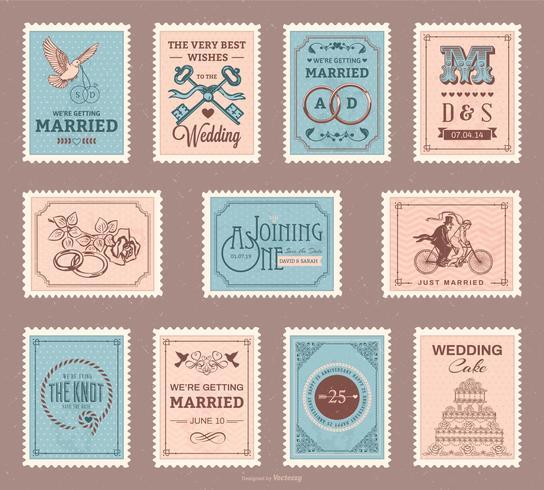 conjunto de vector de sello de boda vintage