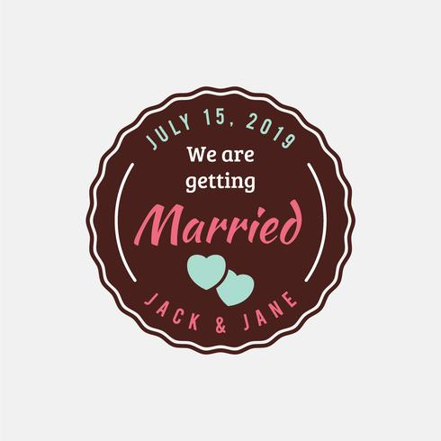 Wedding stamp vintage badge