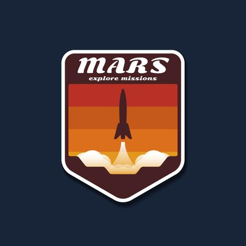 Mars Space Mission Badges And Logo Emblems