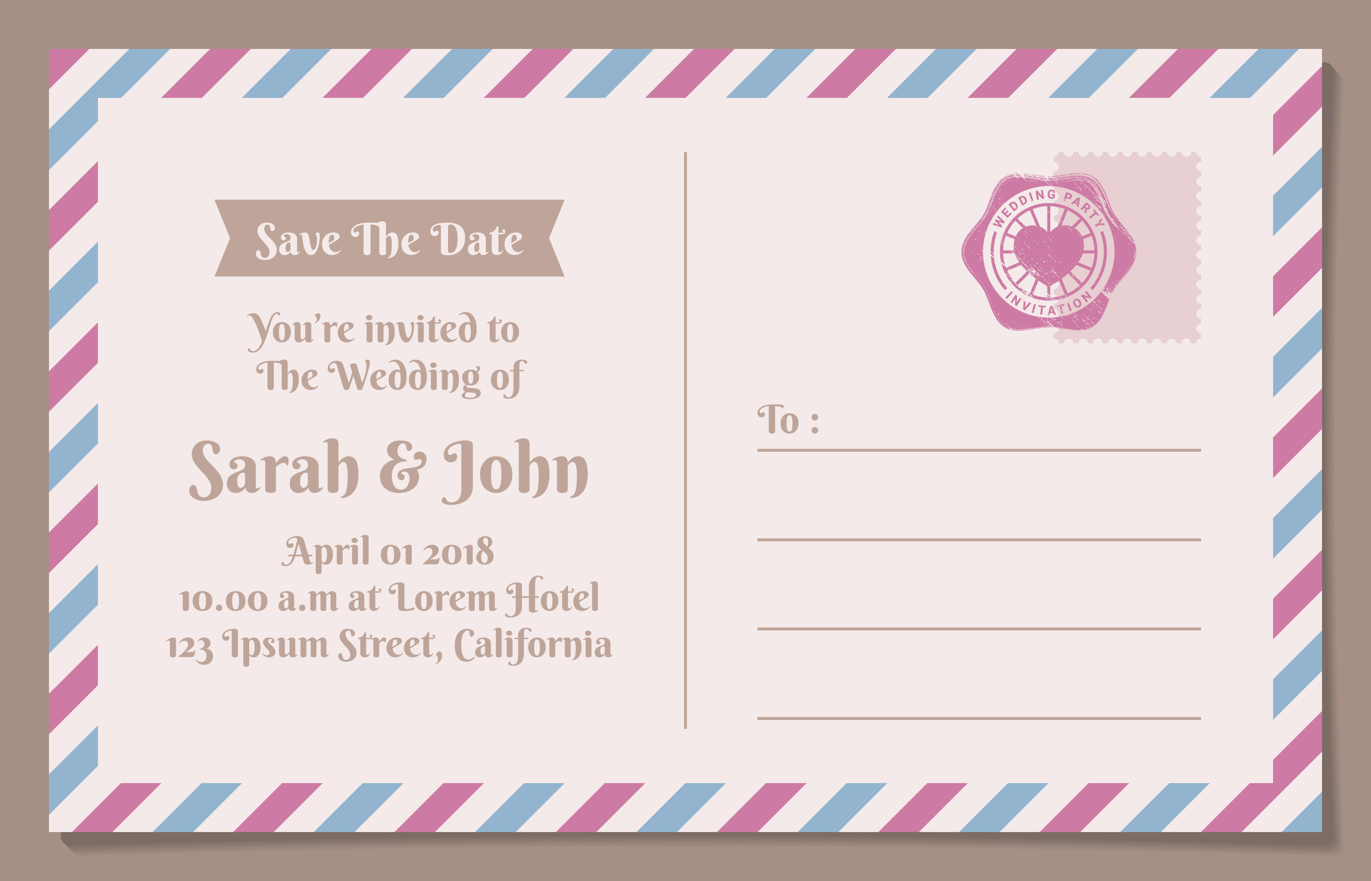 Vintage Postcard Save The Date Background For Wedding Invitation ...