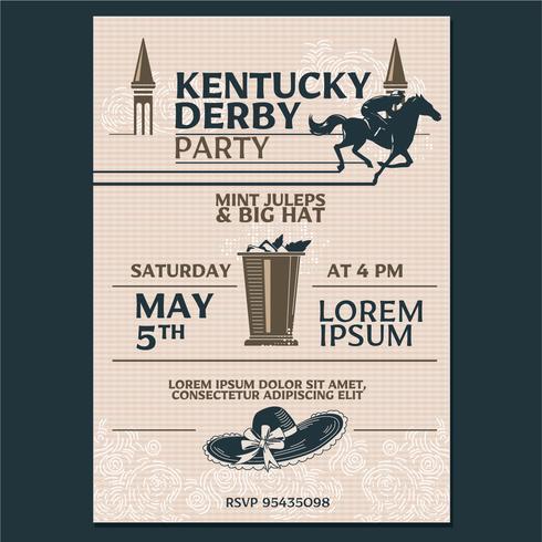 Kentucky Derby Party Invitation Estilo clássico com fundo de padrão Geometroc