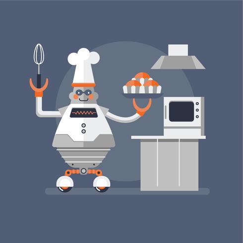 dikke robot koken vector