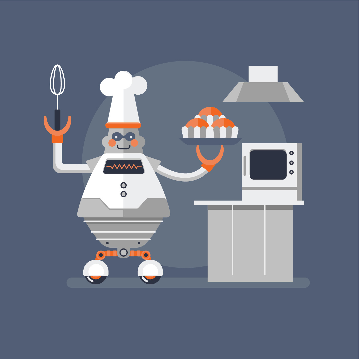 fat robot cook   vector art stock graphics images
