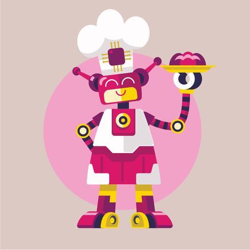 Cozinheiro bonito do robô da mulher