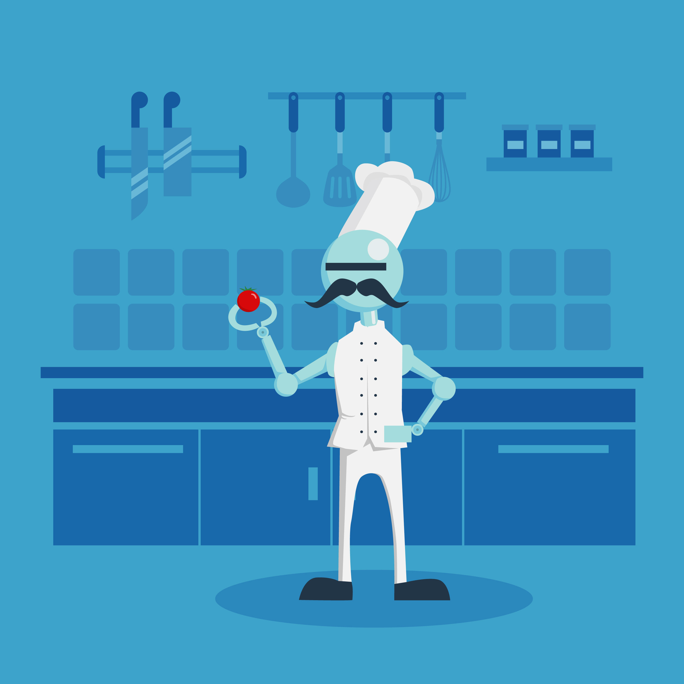 Ai robot chef illustration download free vector art - Robot supreme chef ...