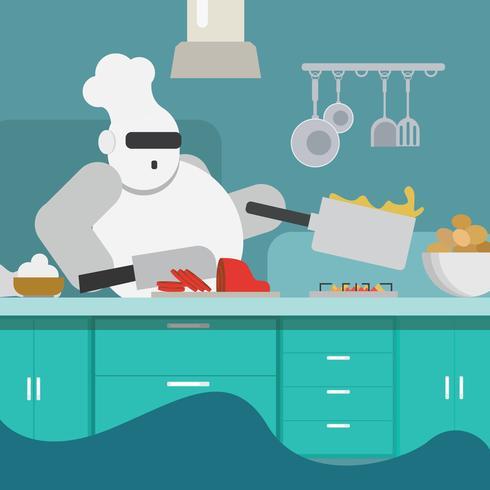 Un cuoco robot vettore