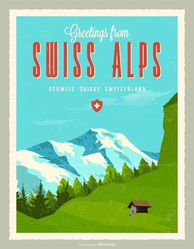 Greetings From Swiss Alps Retro Post Card Vector