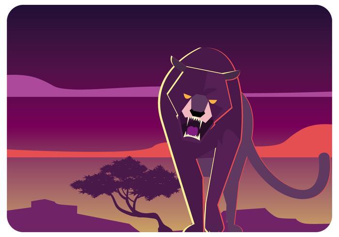 Een Black Panther Walking Vector