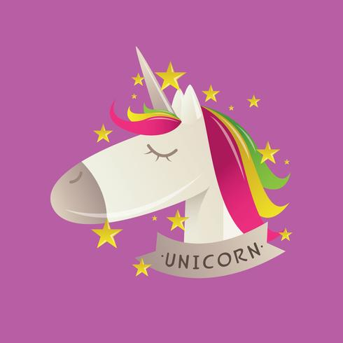 Gullig Unicorn Vector