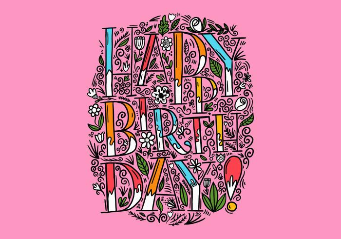 floral happy Birthday lettering