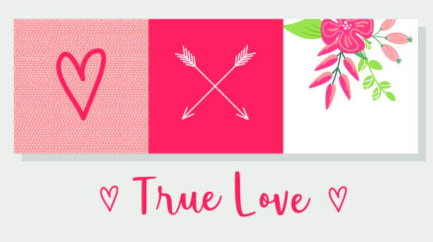 Design de cartão de amor verdadeiro
