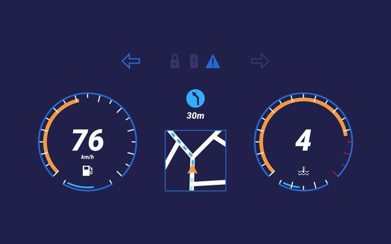 Vecteurs d'interface utilisateur unique de tableau de bord de voiture