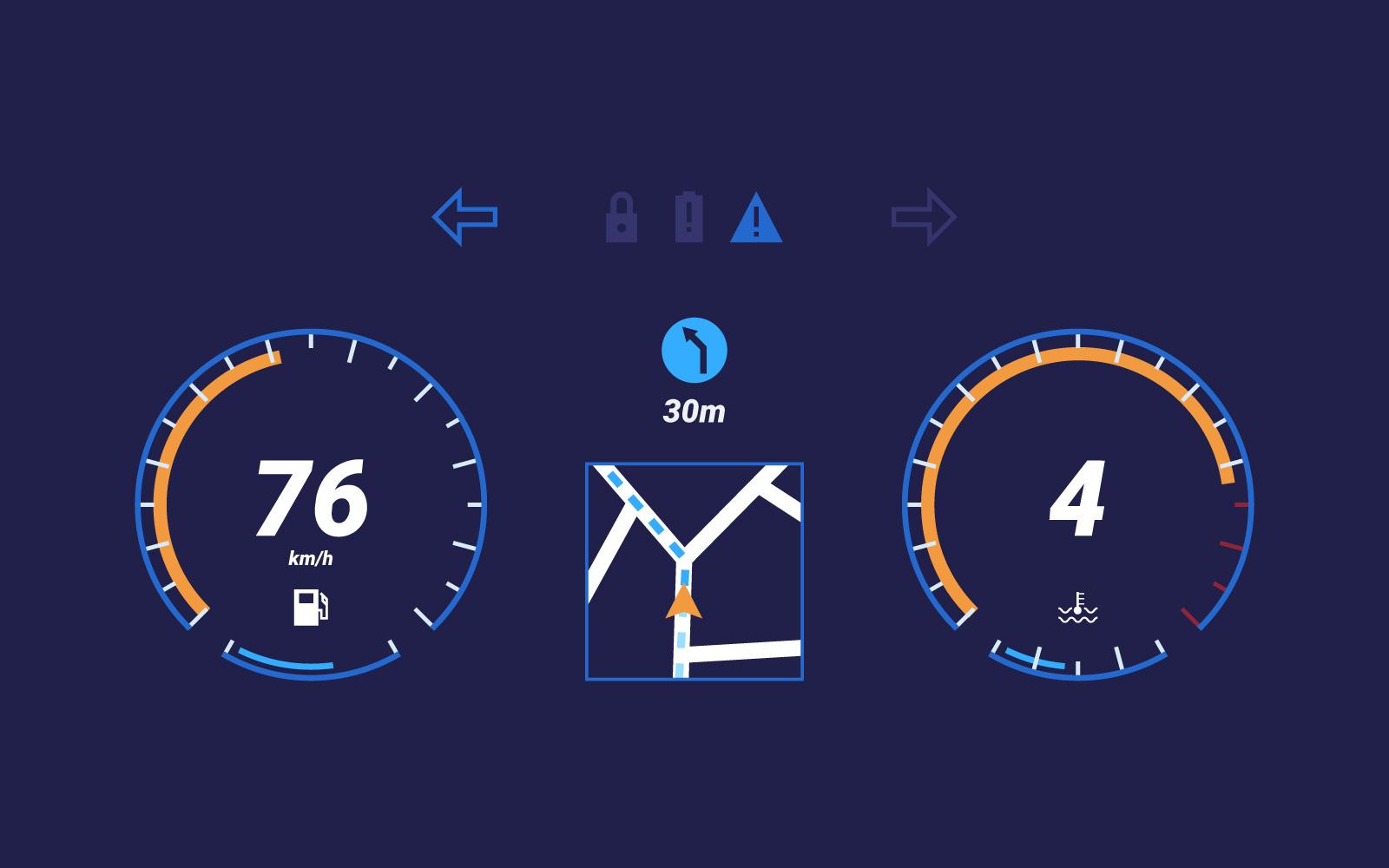 Tablero de instrumentos únicos en el coche UI Vectors - Descargue ...