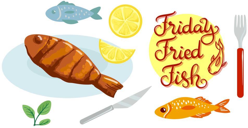 Viernes Fry Fish Vectors