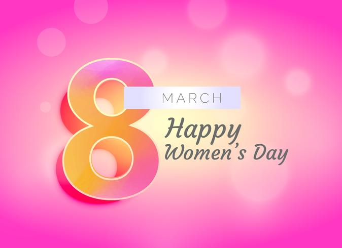 happy woman's day greeting card design with beautiful background