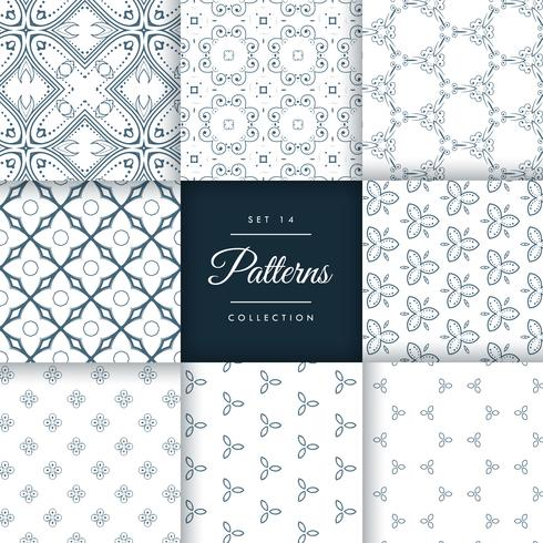 collection of vintage style pattern design vector background