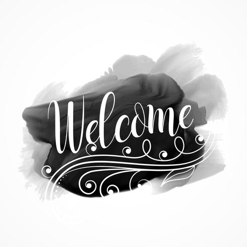 black paint ink watercolor effect with welcome message