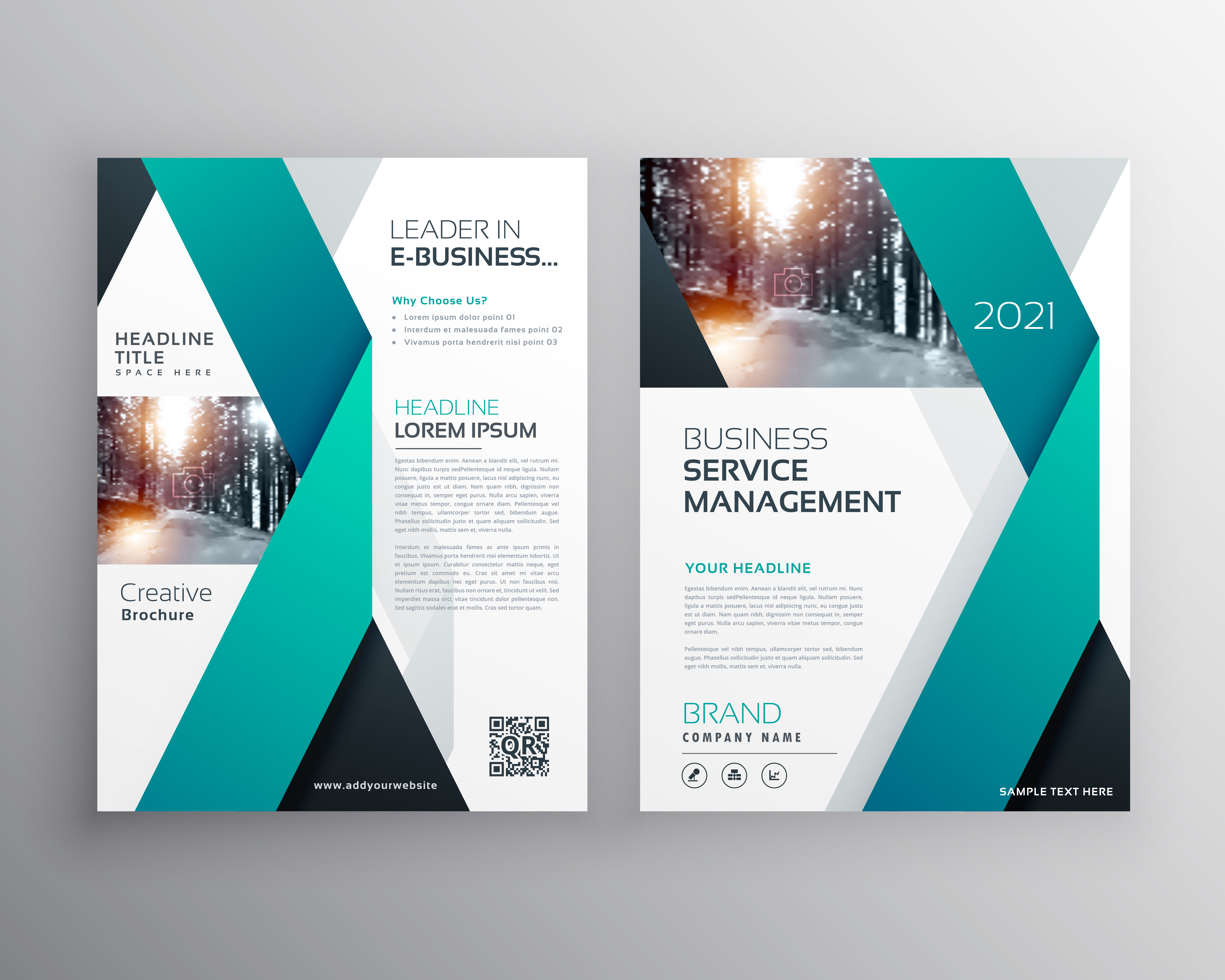blue professional business flyer brochure or annual report