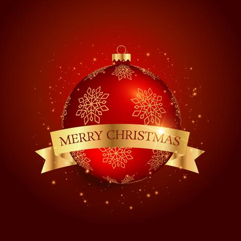 palla di festival di Natale con nastro dorato su sfondo rosso