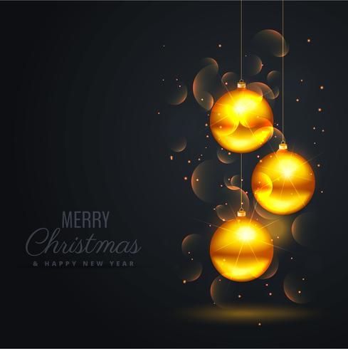 fond noir avec des boules de neige dorées et effet bokeh