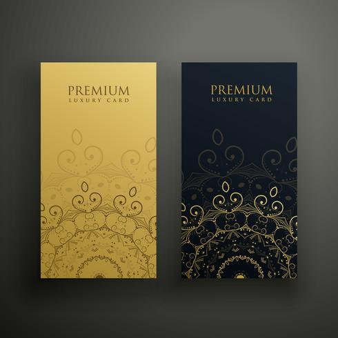 premium mandala cards in gold and black colors