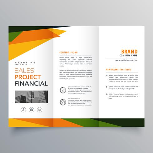 trifold brochure template presentation with abstract geometric s
