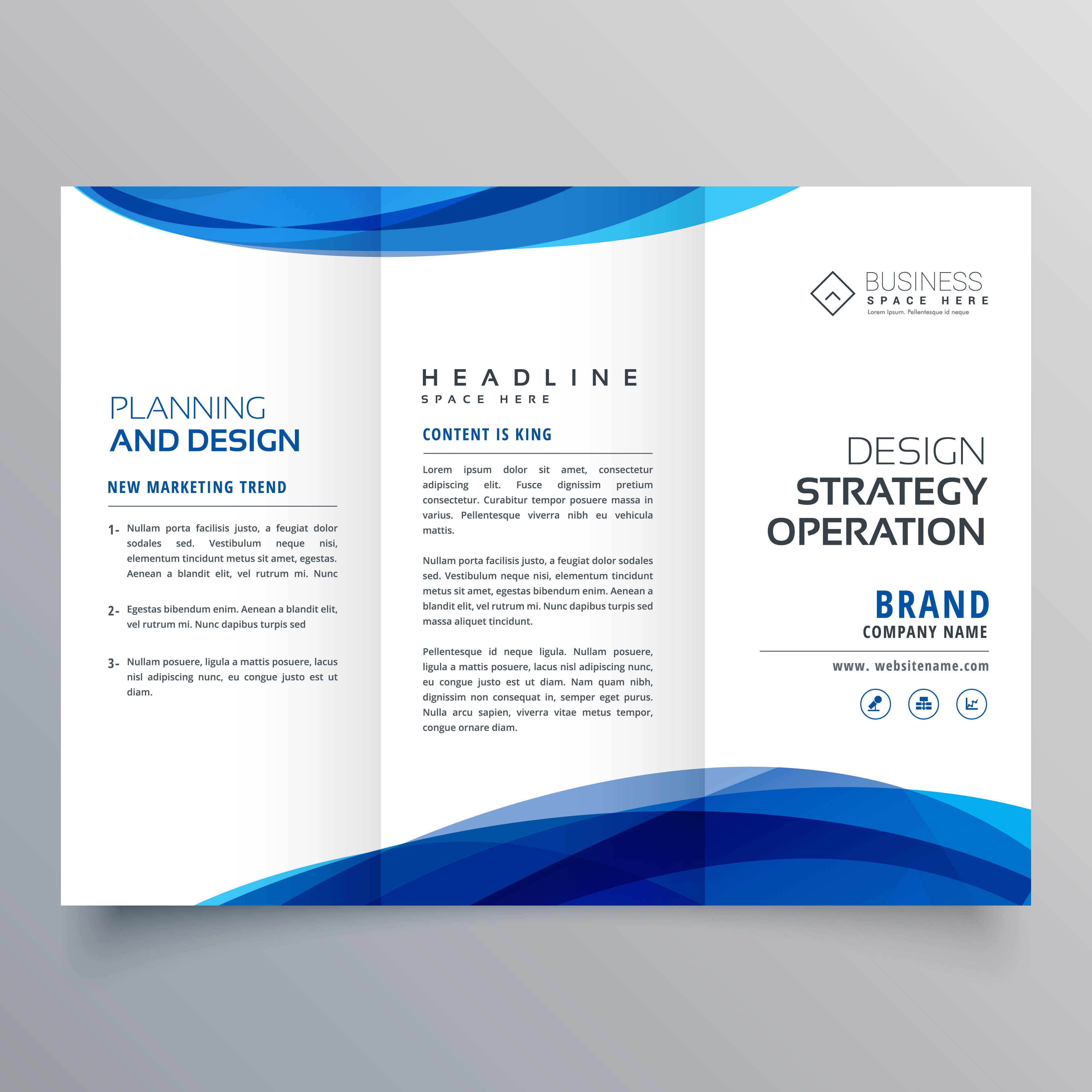 stylish blue wave business brochure template for marketing