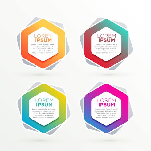 geometric hexagonal banners set with text space