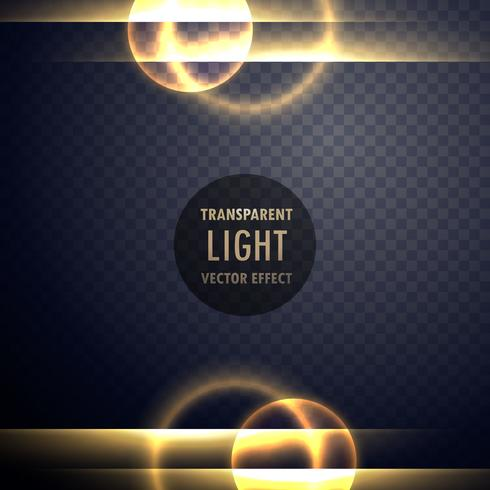 golden light lens effect transparent background