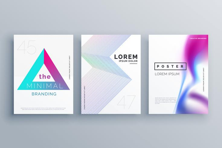 Minimal Cover Template Design Set In Clean Style Download Free
