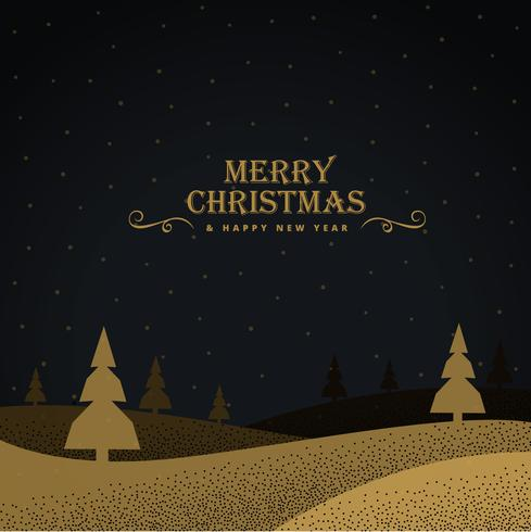 stylish golden christmas greeting background with trees