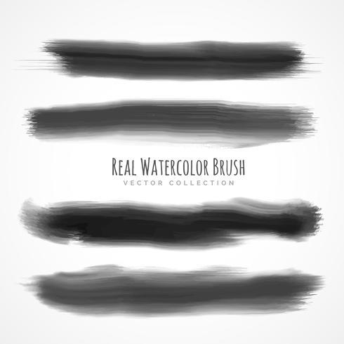black real watercolor brushes set