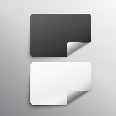 black and white stickers set mockup