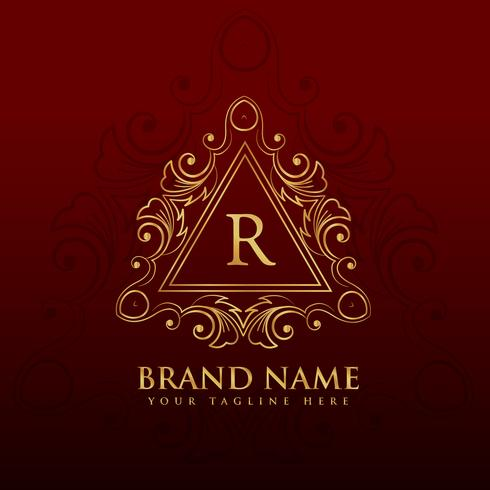 monogram border frame logo design for letter R