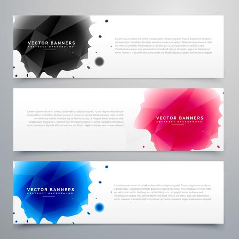 three ink drop banners card