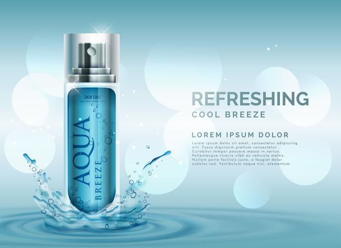 refreshing cosmetic spray advertisement concept with water splas