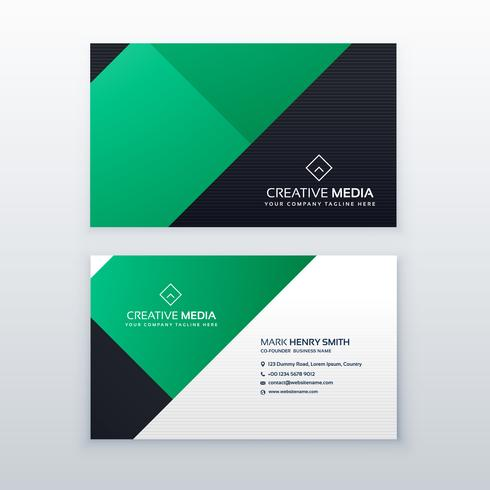 minimal green geometric business card design template